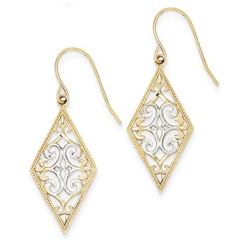 Diamond Shape Filigree Dangle Earrings in 14k Yellow Gold and Rhodium