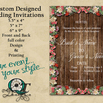 Custom Professional Designed and Printed Wedding Invitations Ceremony Invitations Guide Full color print front and back