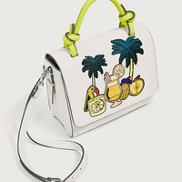 EMBROIDERED TROPICAL CITY BAG DETAILS