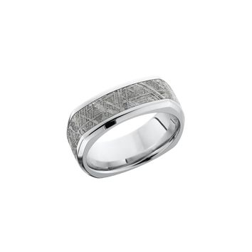 Square Cobalt Chrome Band Ring with Meteorite Inlay