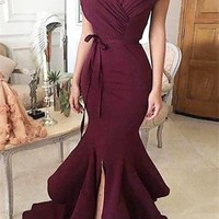 Chicloth Prom Evening Dresses Burgundy Off-the-Shoulder Mermaid