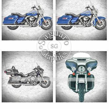 Harley Altered Art Graphic Drawings Art Blue Road King & Black Ultra Classic - Coasters Artwork, 4.0 inch Squares, Arts and Craft Projects