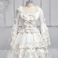 Classic White Long Sleeves Square Neck Bow Lolita Dress - Milanoo.com