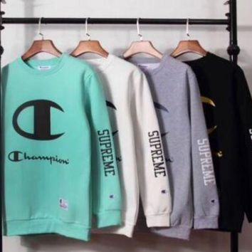 PEAP1 Supreme x Champion Fashion Print Top Sweater Pullover