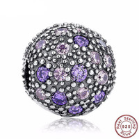 HANDMADE AUTHENTIC 925 Sterling Silver Violet & Pink Bead Charm for PANDORA Bracelet