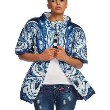 L4122B Ceramic-printed jacket / Winter coat / Multicolor blazer  / Quilted parka / Detachable sleeves / Oversize vest
