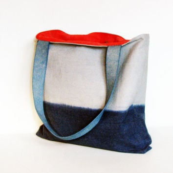 Tote bag cobalt dusty blue large canvas shoulder bag handbag purse ombre color block repurposed painter's canvas drop cloth