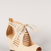 Elisha-05 Cut Out Peep Toe Wedge Sandal