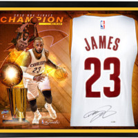 Autographed LeBron James Framed Red Swingman Jersey