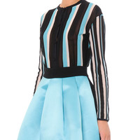Vertical-Stripe Cardigan Sweater and Bicolor Pleated A-Line Skirt