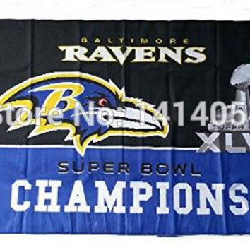 NFL Baltimore Ravens XLVII Super Bowl Champions flag 150X90CM Banner 100D Polyester3x5 FT flag brass grommets 001, free shipping