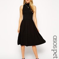 ASOS PETITE Midi Skater Dress with Polo Neck and Cut Away Arm
