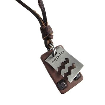 Aquarius brown leather pendant necklace