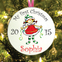 Christmas tree ornament Elf girl tag - My first Christmas - baby personalized name - Customized name - Santa Claus Elf - Happy Christmas new