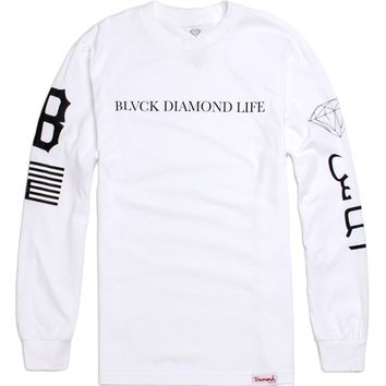 Diamond Supply Co Blvck Diamond Life Long Sleeve T-Shirt - Mens Tee - White -