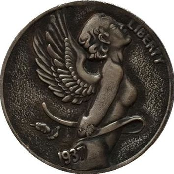 NEW ANGEL Hobo Nickel 1937-D 3-LEGGED BUFFALO NICKEL CHERUB