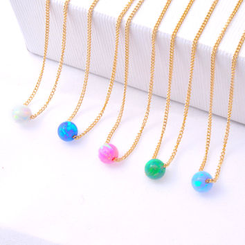 Opal jewelry, Opal necklace, opal ball necklace, opal gold necklace, gold filled tiny necklace, opal bead necklace, Delicate Opal necklace