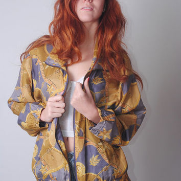 Vintage 1980s oversize zip up SILK Baroque chain print Versace inspired windbreaker bomber jacket coat