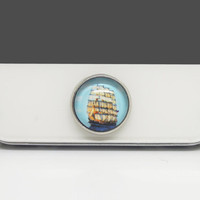 1pc Retro Epoxy Sailing Ship Transparent Time Gems Alloy Cell Phone Home Button Sticker Charm for iPhone 4s,4g,5,5c, iPad 2,3,4 Kids Gift