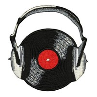 ONETOW Novelty Iron on - Music Themed Rock n Roll Record With Headphones Black Logo Patch
