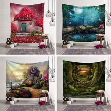 Landscape Black Tapestries Green Leaves Wall Hanging Meditation Home Decoration Blue Mushroom Bedspreads Tree Large Woven Custom