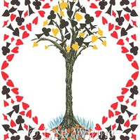 Card Games Tree, giclee print with playing card symbols, 5 x 7