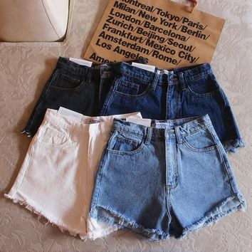 American Apparel All-match Retro Tassel Edge High Waist Denim Shorts Hot Pants Jeans