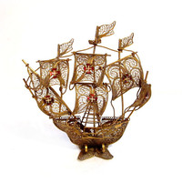 Vintage Filigree Ship, Gold Metal Boat Sculpture Figurine
