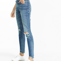 high waisted distressed ankle jean legging