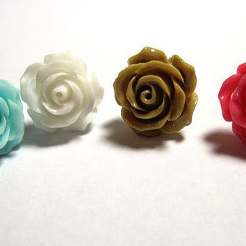 """1 Rose Stud Earring to Match my """"Roses are ..."""" Conch Cuffs Wedding Prom Bridal 1 earring"""