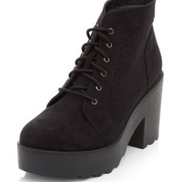 Black Laser Cut Out Lace Up Block Heel Ankle Boots