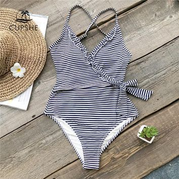 CUPSHE Navy And White Striped One-piece Swimsuit Women Ruffle Tied Bow Monokini 2018 Backless Beach Bathing Suits Swimwear