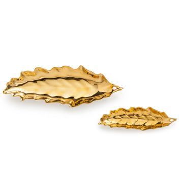 Gold Leaves Tray Set of 2