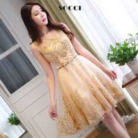New Tulle Lace Gold Cocktail Dress 2016 short Mother of the Bride Dresses Formal Prom gowns wedding party Vestidos de coctel