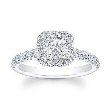 Ladies 14kt white gold shared-prong diamond cushion halo engagement ring 0.60 carats G-VS2 diamonds w/1.50ct Round shape White Sapphire Ctr
