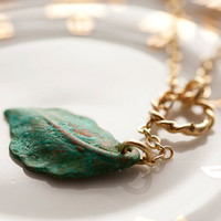Verdigris Leaf Lariat Gold Ring Patina Leaf by SilentRoses on Etsy