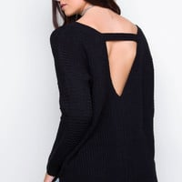 Cozy On Up Oversized Sweater - Black