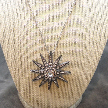 Large Rhinestone Necklace KJL Star Vintage Jewelry N4543