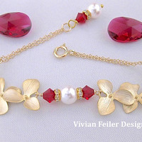 Red Wedding Jewelry Bracelet Gold Pearl Orchid Flower RUBY RED Bridal Gold Wedding Jewellery Prom Mother of the Bride Maid of Honor