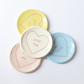 Love Heart Ring Dishes - Jewelry Holders - Sweet Bowls