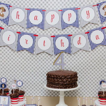 Gingham Puppy Party Happy Birthday Banner: INSTANT DOWNLOAD