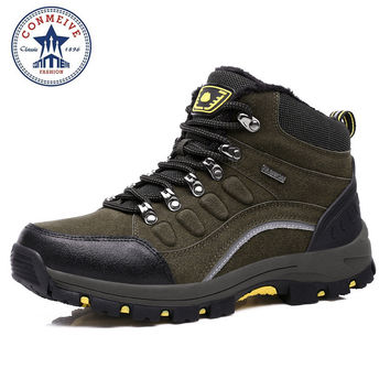 outdoor trekking boots hiking shoe camping climbing Men waterproof shoes shoes-factory-direct winter Rubber Lace-Up Warm