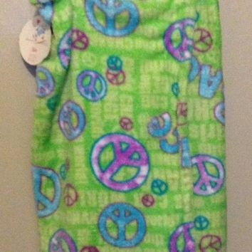 Justice girls bathrobe Soft Towel Peace fleece wrap coverup glitter graphic S/M