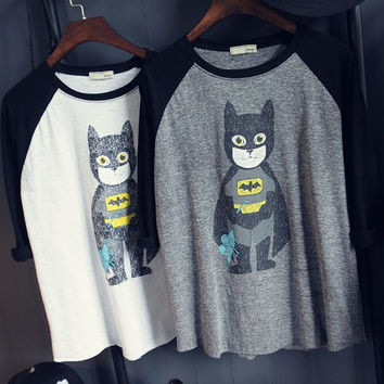 Batman Print Raglan Sleeve T-Shirt