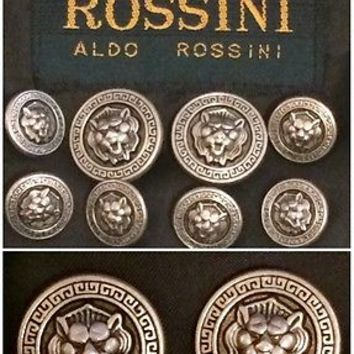 Rossini Aldo Blazer Suit Jacket Replacement Buttons Silver Metal Loin Lot Set 8
