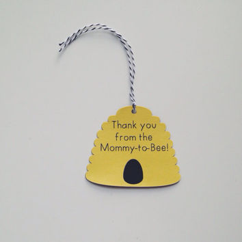 Mommy to Bee Baby Shower Favor Tags - Set of 12 or 24 - Bee Themed Baby Shower - Gender Neutral Baby Shower - Favor Tags