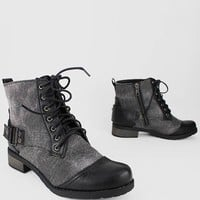 canvas lace up side zip boot $29.20 in BLACK BROWN CHSTNT - Booties | GoJane.com