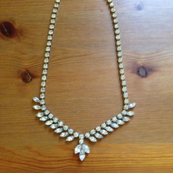 Rhinestone Mid Century Necklace - Antique Bridal Jewelry 1940s Statement Necklace