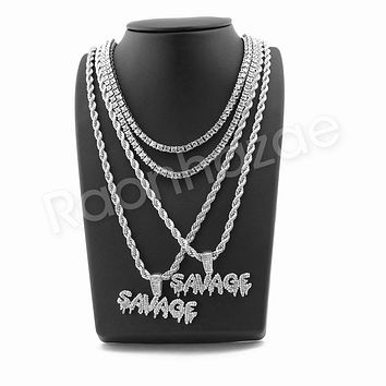 "ICED OUT SAVAGE BUBBLE PENDANT SILVER W/ 24"" ROPE /18"" TENNIS CHAIN NECKLACE"