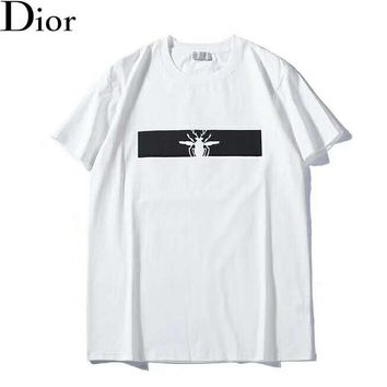 DIOR Summer Fashion New Bust Bee Print Women Men Top T-Shirt White